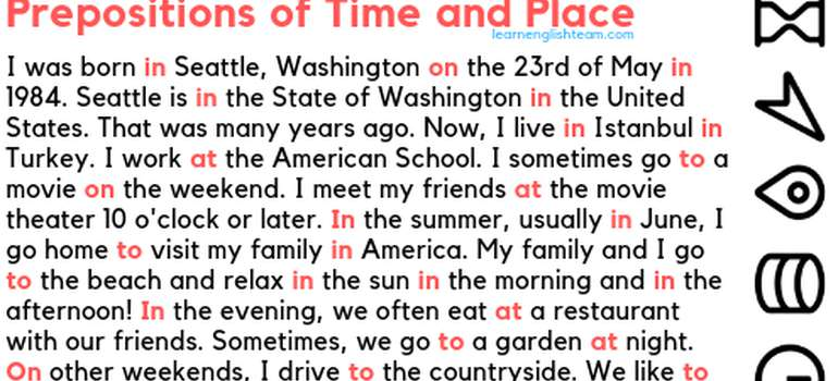 preposition of time and place